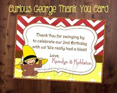 Curious George Thank You Card Curious George by SoniaRDesigns