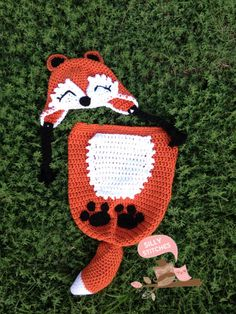 Adorable Newborn Woodland Fox Cocoon Set by SillyStitchesCrochet