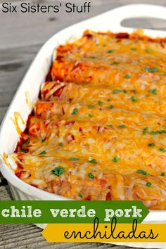 Slow Cooker Chile Verde Pork Enchiladas