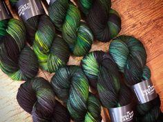 Frankenstein on superwash Cheviot Aran yarn.   _________________ #countessablaze #yarn #instaknit #indiedyer #frankenstein #britishwool #ravelry #knitting #crochet