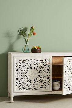 Anthropologie | Lombok Buffet | Handcarved | Mango Wood | Elegant | Natural or Whitewash finish | storage | organization | decor | ad
