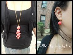 Coral Bubble Drop Necklace Go to:  facebook.com/hotflairs  etsy.com/hotflairs