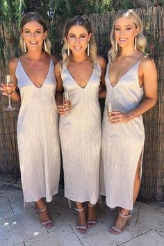 A line Ankle Length Deep V Neck Bridesmaid Dresses with Side Slit, Wedding Party Dress on sale – PromDress.uk A line Ankle Length Deep V Neck Bridesmaid Dresses with Side Slit, Wedding Party Dress on sale – PromDress. Burgundy Homecoming Dresses, Wedding Bridesmaid Dresses, Wedding Party Dresses, Metallic Bridesmaid Dresses, Wedding Parties, Alternative Bridesmaid Dresses, Bridal Dresses, Wedding Dress Shapes, Beach Wedding Bridesmaids