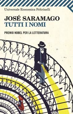 "Wonderful book cover of the Italian edition of José Saramago's wonderful book ""All the Names"" (1997). I think this cover perfectly encapsulates the emotions evoked by the trials and tribulations of Senhor José, the story's main character."