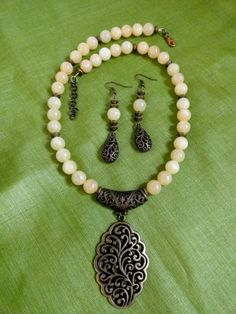 Ethnic Elegance - Beaded Necklace and Earrings