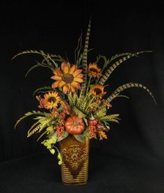 Fall Floral Arrangement Pumpkins Gourds Berries by tapestryoflife, $89.00