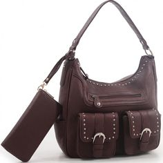 Jacqueline Concealed Carry Hobo Bag w/Matching Wallet - Dark Brown   #EmperiaOutfitters #Hobo