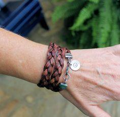 Brown Leather Wrap Cuff Bracelet Flat Braid by LynnToddDesigns
