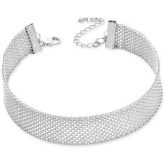 Inc International Concepts Silver-Tone Mesh Choker Necklace, ($25) ❤ liked on Polyvore featuring jewelry, necklaces, silver, polish jewelry, silvertone jewelry, mesh jewelry, silver tone necklace and silver tone jewelry