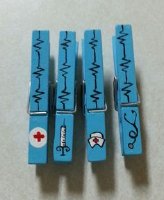Nurse's Gift Clothespin Magnets Set of 4 by LiliesandPearls, $3.00