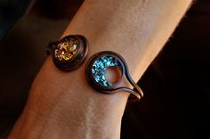 Custom Order Bismuth Crysatl and Bendy Copper Cuff Bracelet, Iridescent Crystal Jewelry