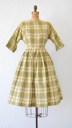 PEAR CIDERHOUSE DRESS vintage 1950s green yellow plaid pleat dress   #1950s #50svintage