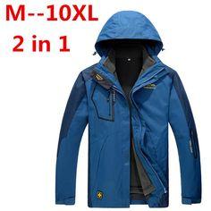c676c8c54e131 plus size 10XL 8XL 6XL 5XL Men s Waterproof Windpoof Jackets Men thicken 2  in 1 Autumn