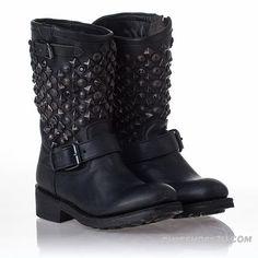 Ash Women's Boots Black Leather Studs Tokyo