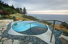 Infinity edge meditation pool at Post Ranch Inn, overlooking the cliffs of Big Sur, California.