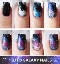 Imagen de galaxy, nails, and nail art