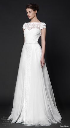 tony ward 2016 bridal off the shoulder neckline cap sleeves lace modified A-line wedding dress nightshade #weddings #wedding