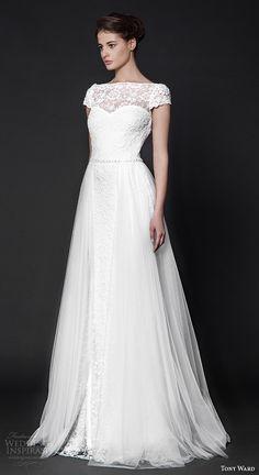 tony ward 2016 bridal off the shoulder neckline cap sleeves lace modified A-line wedding dress nightshade #weddings #wedding