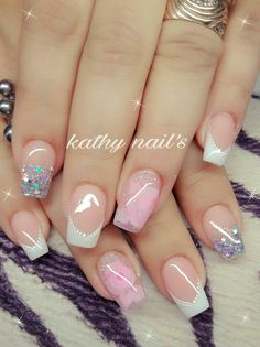 Pink Nails, Glitter Nails, My Nails, Cute Nails, Pretty Nails, Luxury Nails, Square Nails, Gorgeous Nails, French Nails