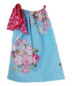 Look at this Blue & Pink Floral Pillowcase Dress - Infant, Toddler & Girls on #zulily today!