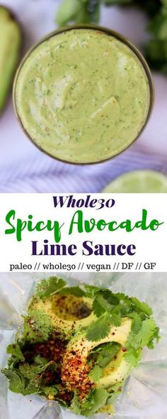 A super simple avocado sauce you can throw on just about anything, this Spicy Avocado Lime Sauce comes together in less than a minute and is paleo, and vegan! - Eat the Gains recipes salad smoothie toast farci noyau recette salade Sauce Recipes, Vegetarian Recipes, Cooking Recipes, Lime Recipes Vegan, Cooking Bacon, Kitchen Recipes, Cooking Tips, Keto Recipes, Paleo Whole 30