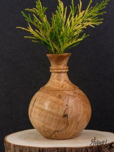 Hand-turned Wooden Vase by Stumpdust on Etsy