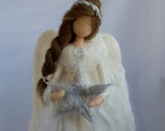Waldorf Angel Tree Topper Needle Felted by ClaudiaMarieFelt