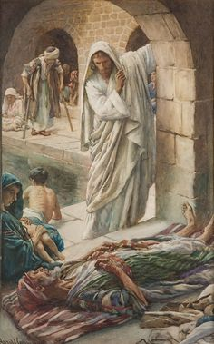 Harold Copping   A Man Healed at the Pool of Bethesda... John 5:5-8 and there was a certain man there being in ailment thirty and eight years, him Jesus having seen lying, and having known that he is already a long time, he saith to him,...