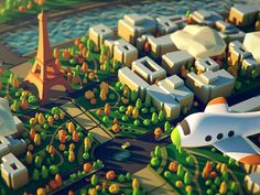 Paris designed by Qubitz. the global community for designers and creative professionals. Isometric Art, Isometric Design, Low Poly Games, Cinema 4d Tutorial, Polygon Art, Low Poly 3d Models, Game Concept Art, Game Design, 3d Design