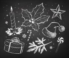 Gekalkt Kerstmis schetseninzameling getekend op zwart bord achtergrond.
