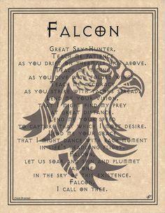 FALCON PRAYER Poster Animal Spirit Guide Art Print Wicca Pagan Native American