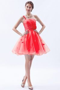 Appliques One Shoulder Organza Red Swan Hill VIC Cocktail Dresses