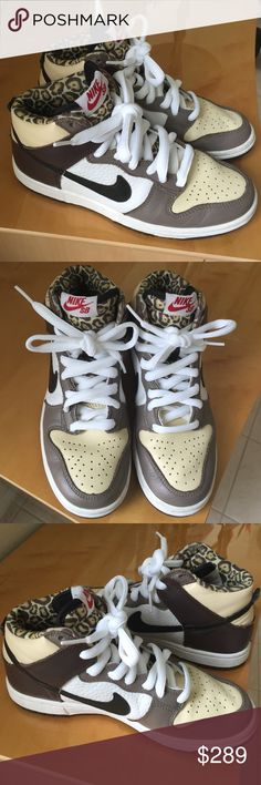 Nike Dunk High Pro SB Ferris Bueller Leopard SZ: 5 Very good condition and gently worn twice. Very minor creasing to upper areas and minor dirt stains. No visible signs of wear to the bottom of shoes. The shoelaces are brand new and just put in. Comes with extra white laces. Shoes do not come in original box. These are Limited Edition Ferris Bueller hightop SB's by Nike with leopard print inside. They feature Zoom Air insoles for added cushioning and comfort. Size 5 in Kids (but fit like a…