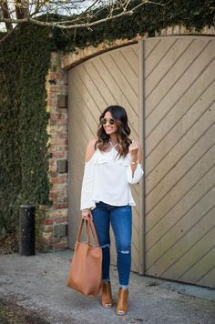 Tan Peep Toe Booties & ripped jeans styled by Louisiana fashion blogger, Jenn of Haute Off The Rack, tan tote, AG ankle legging jeans, open shoulder top