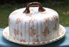 Ridgways Verona Pattern Transferware Covered Cheese Server Dish with Roses - On sale during GVS Ruby Lane Sale Jan 12-13