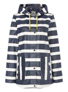 This lovely jacket offers a timeless style with an extra touch of warmth. Cut from a lightweight, waterproof material, this navy jacket has drawstring hood, button fastening and two front pockets. Cute stripe print patterning running all over completes this simple and classic look.</p><ul><li>Navy stripe wax jacket</li><li>Waterproof</li><li>Drawstring hood</li><li>Stripe pattern</li><li>Model's height is 5'11</li><li>Model wears a size 12</li></ul>
