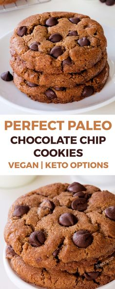 These perfect paleo chocolate chip cookies are thick, chewy and have the perfect texture. Paleo Chocolate Chip Cookies, Paleo Chocolate Chips, Paleo Cookies, Homemade Chocolate, Healthy Vegan Cookies, Almond Cookies, Paleo Sweets, Paleo Dessert, Healthy Desserts