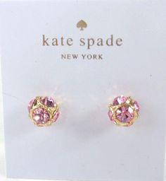 e422dbd85ef9ee Kate Spade O0RU1810 Lady Marmalade Gold tone Pink Crystal Stud Earrings NEW!  #KateSpade #