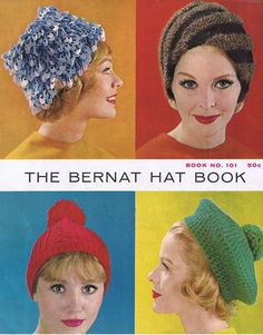 ($1.00) Originally published in 1961, this vintage pattern booklet contains 16 hat designs in a variety of styles: knitted or crocheted, classic or fashionable. This is a PDF download