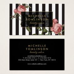 Shop Vintage Floral Striped Salon Business Card created by Personalize it with photos & text or purchase as is! Salon Business Cards, Business Card Logo, Business Card Design, Nail Logo, Free Business Card Templates, Young Living Essential Oils, Vintage Floral, Card Making, Things To Come