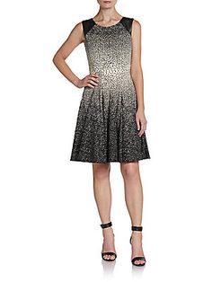 Printed Faux-Leather Accented Dress
