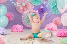 first cake smash princess  decorations pink rose green mint balloons l one 1 skirt girl smile funny romper bloomer pompons drum symbols