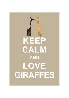 LARGE 13X19 Keep Calm and Love Giraffes : Beige Personalized custom Wedding Birthday Anniversary Gift Children Kids Home Decor. $15.80, via Etsy.
