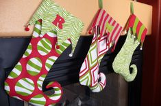 DIY Christmas Stockings • Tutorials and ideas full of inspiration, like this easy elf stocking tutorial from 'Sew 4 Home'!