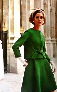 1965 vintage fashion style color photo print ad model magazine 60s green suit dress wool tie