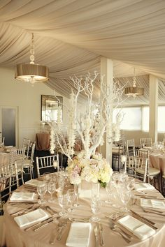 Love the champagne table cloth, white flowers, white napkins Manzanita Centerpiece, Wedding Centerpieces, Wedding Decorations, Table Decorations, Branch Centerpieces, Engagement Decorations, Decor Wedding, Vase With Branches, Tree Branches