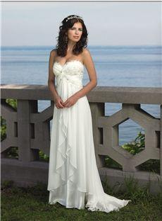 Sheath/Column Strapless Exquisite Sweetheart Sweep/Brush Train Chiffon Wedding Dress Newcastle