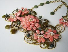 A rose by any other name ... Wire wrapped art jewelry stone and coral necklace set