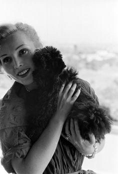 "theniftyfifties: ""Zsa Zsa Gabor with her dog, Farouk, California, 1951. """