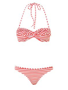 Topshop Coral Stripe Bandeau Bikini Top and Bikini Pants: 100 Beach-Ready Swimsuits for Summer: Style: teenvogue.com